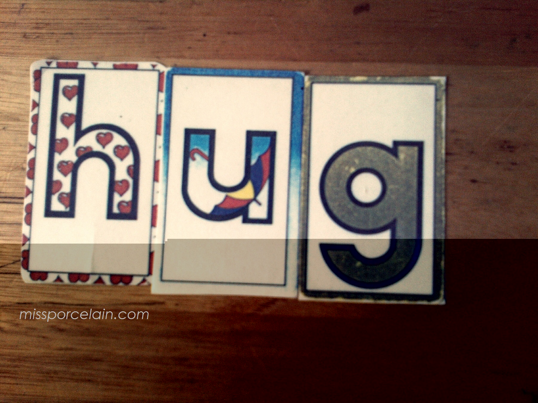 One of my students loved to build this word because she always got a hug afterwards :)