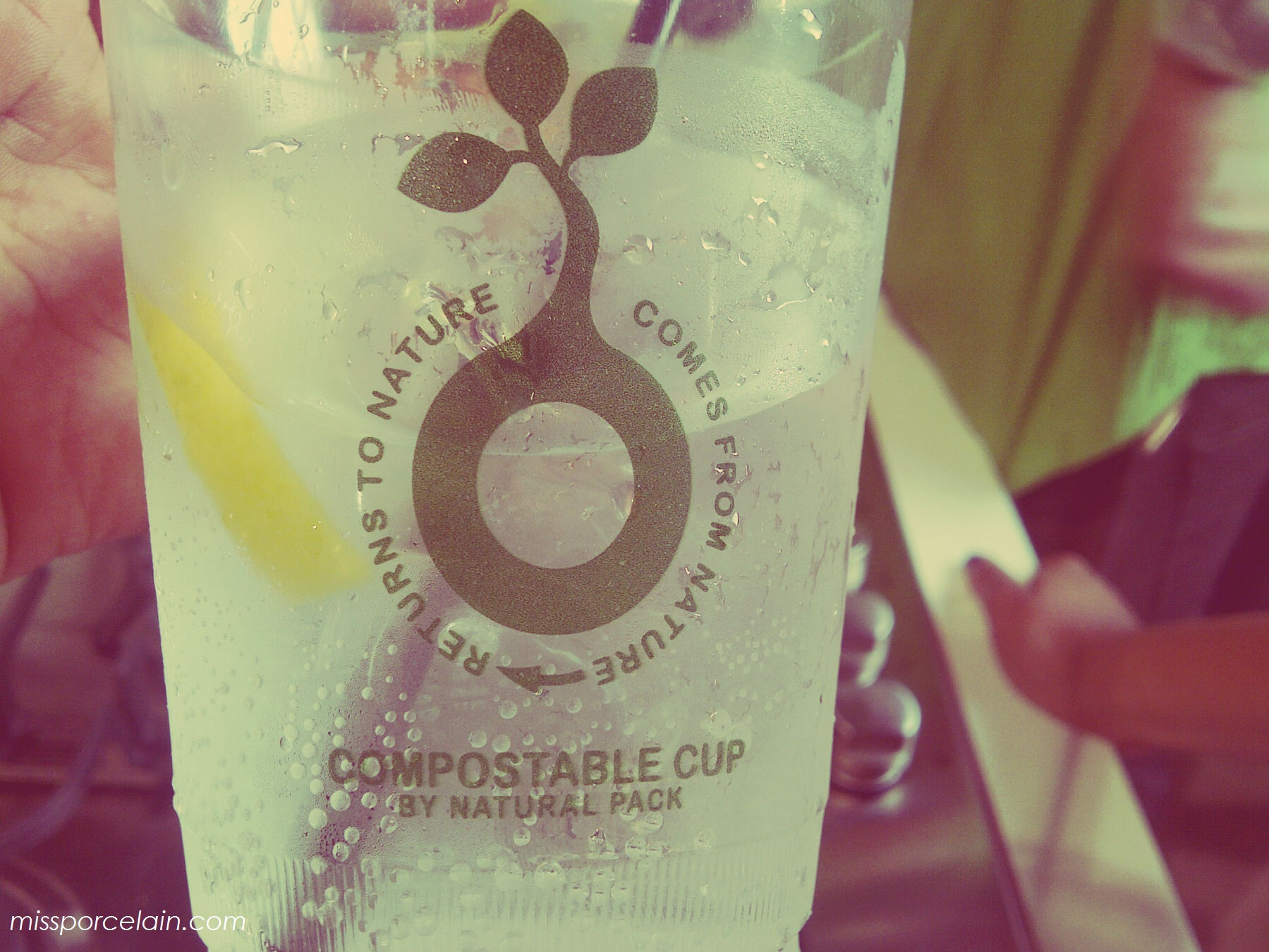 How cool is this 'compostable' cup. Marcee was drinking G&T