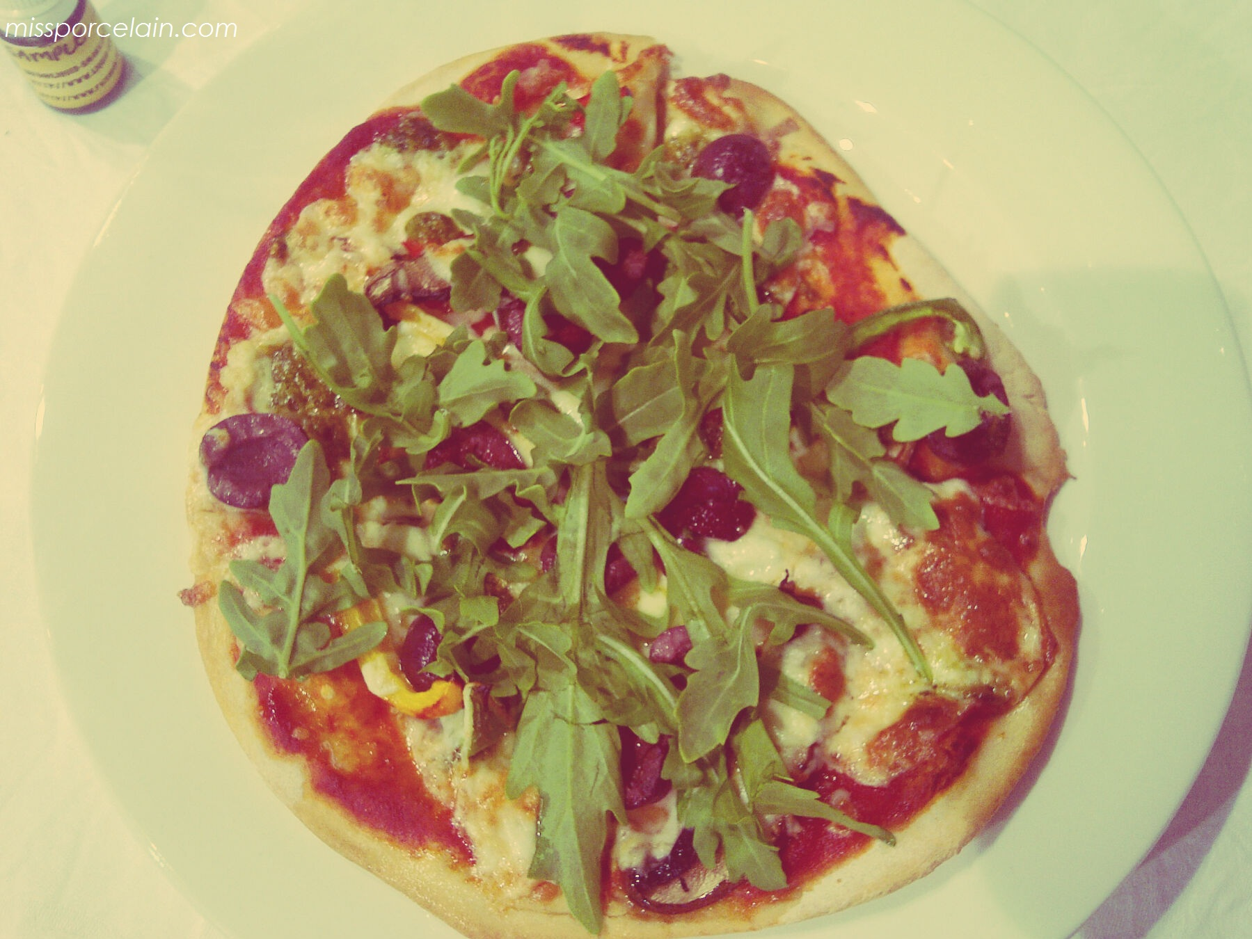 We all got to make our own pizza. I had peppers, mushrooms, olives, rocket & basil pesto on mine. YUM!