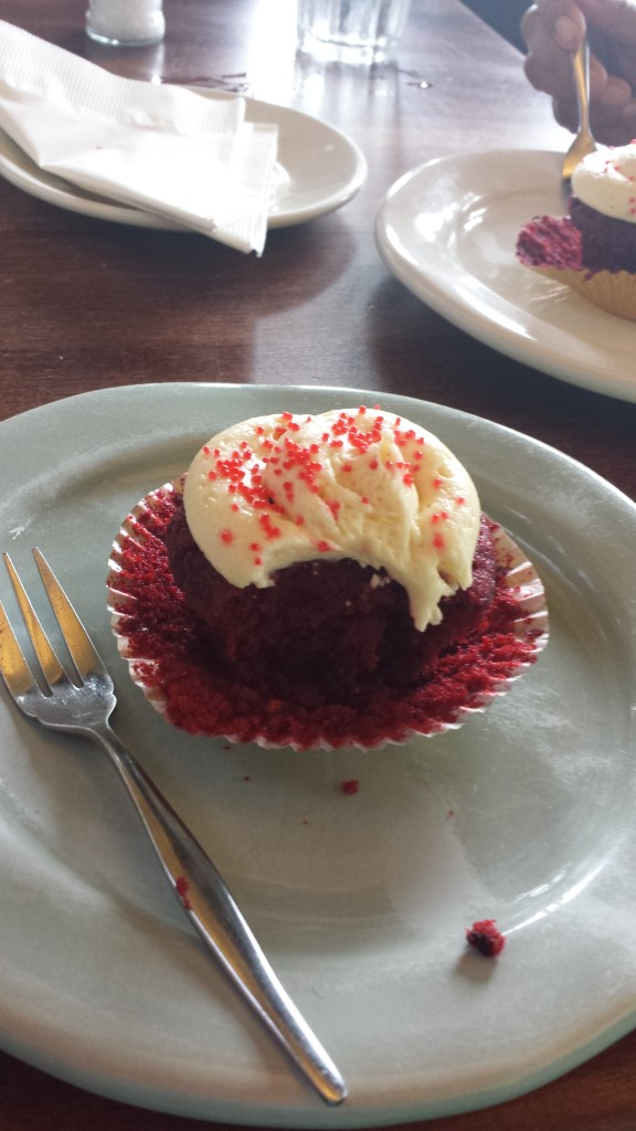 It was raining ALL DAY, so we went to Tasha's for the red velvet cupcakes & to 'watch the rain'. He he he